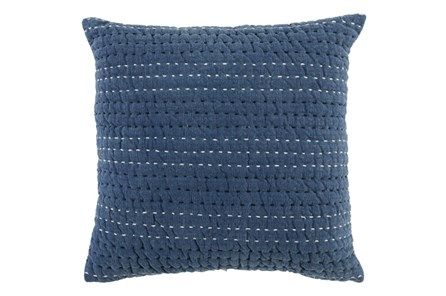 ACCENT PILLOW-CHAMBRAY BLUE STRIATIONS 22X22 - Main
