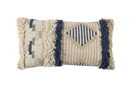 Accent Pillow-Indigo & Ivory Brush Fringe Detail 14X26