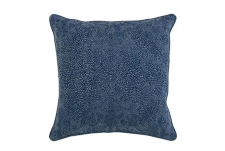 Accent Pillow-Indigo Stonewashed Damask 20X20