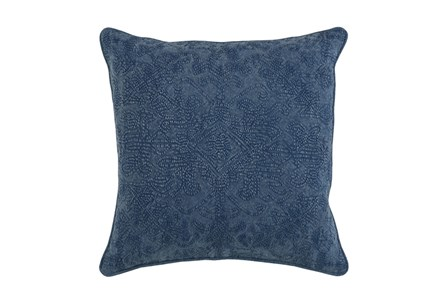 Accent Pillow-Indigo Stonewashed Damask 20X20 - Main