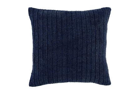 Accent Pillow-Indigo Knit Linen 22X22