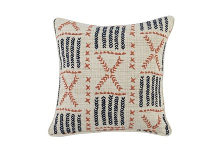Accent Pillow-Terracotta & Indigo Mudcloth 22X22