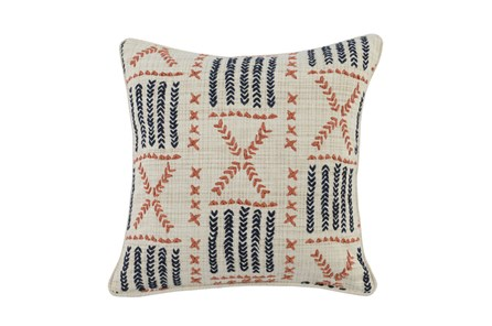Accent Pillow-Terracotta & Indigo Mudcloth 22X22 - Main