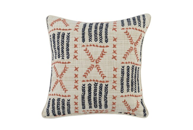 Accent Pillow-Terracotta & Indigo Mudcloth 22X22 - 360