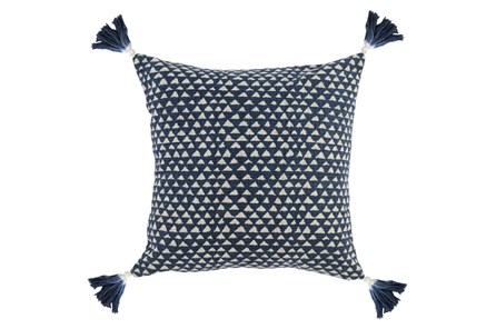 Accent Pillow-Indigo Corner Tassels 20X20