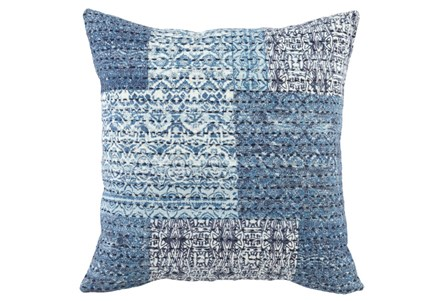 Accent Pillow-Antique Patchwork Chambray Blue 22X22