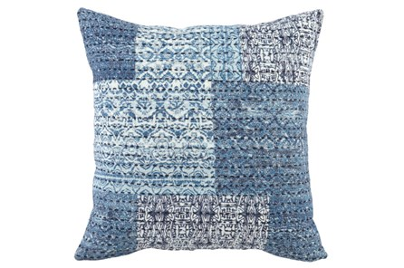 Accent Pillow-Antique Patchwork Chambray Blue 22X22 - Main