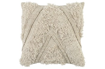 Accent Pillow-Ivory Brush Fringe Chevron 22X22