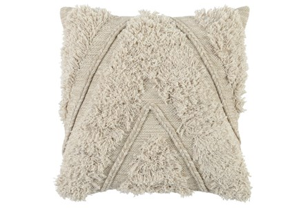 Accent Pillow-Ivory Brush Fringe Chevron 22X22 - Main