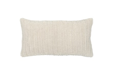 Accent Pillow-Ivory Knit Linen 14X26