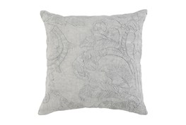Accent Pillow-Grey Belgian Linen Acanthus Leaf 22X22