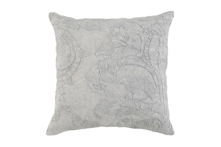 Accent Pillow-Grey Belgian Linen Acanthus Leaf 22X22 - Main