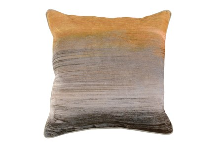 Accent Pillow-Ochre Cotton Velvet Dip Dye 22X22