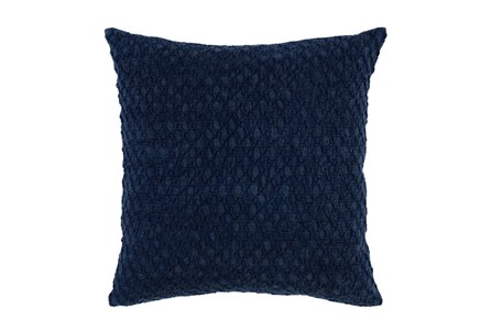 Accent Pillow-Indigo Hexagon Belgian Linen 22X22