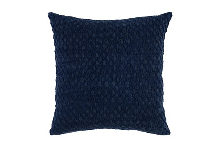 Accent Pillow-Indigo Hexagon Belgian Linen 22X22 - Main