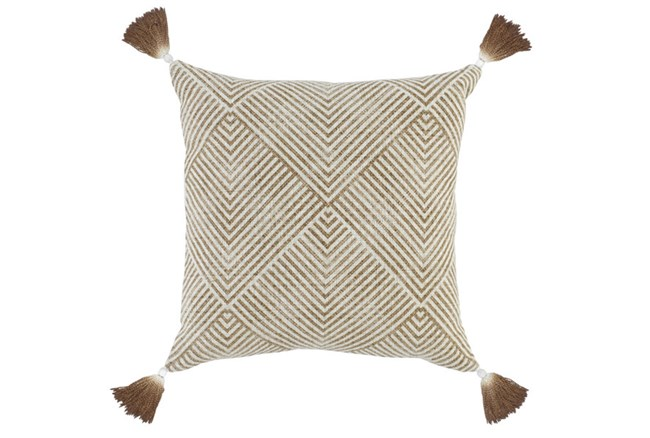 Accent Pillow-Toffee Dip Dyed Tassels 20X20 - 360