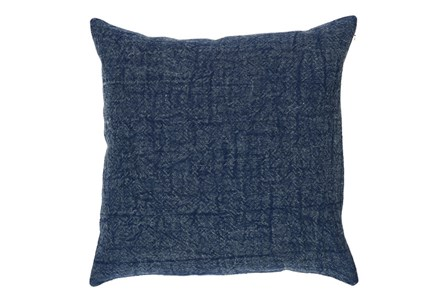 Accent Pillow-Indigo Stonewashed Textural Linen 22X22