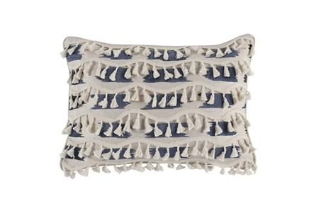 Accent Pillow-Navy & Ivory Tassel Fringe 14X26