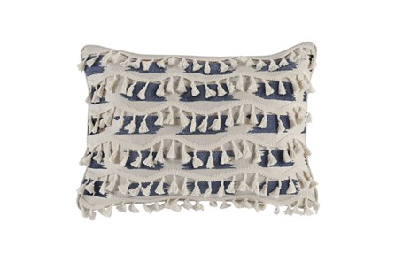 Accent Pillow-Navy & Ivory Tassel Fringe 14X26 - Main