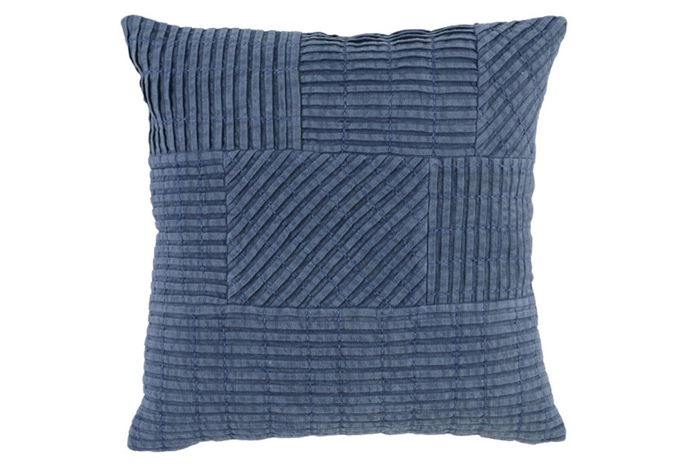 Accent Pillow-Chambray Patchwork Pleats 18X18