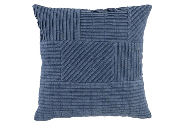 Accent Pillow-Chambray Patchwork Pleats 18X18 - 360