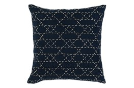 Accent Pillow-Navy With Natural Stitching 18X18