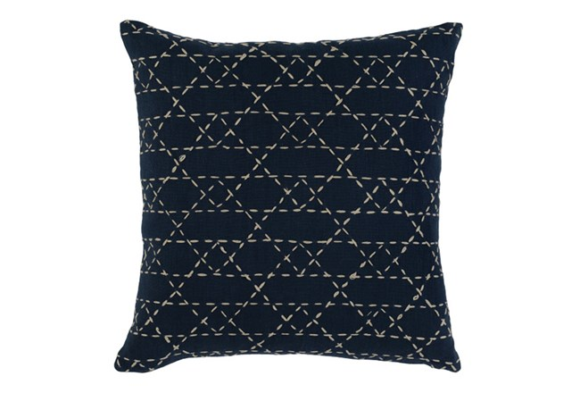 Accent Pillow-Navy With Natural Stitching 18X18 - 360