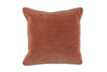18X18 Terra Cotta Orange Stonewashed Velvet Throw Pillow - Main