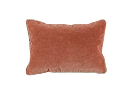 14X20 Terra Cotta Orange Stone Washed Velvet Lumbar Throw Pillow - Main