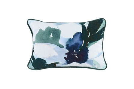 Accent Pillow-Watercolor Flowers Emerald 14X26