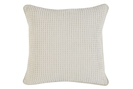 Accent Pillow-Ivory Waffle Print  20X20