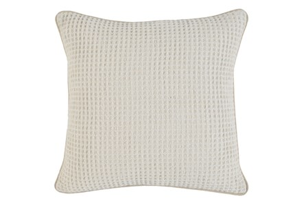 Accent Pillow-Ivory Waffle Print  20X20 - Main