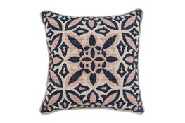 Accent Pillow-Blush & Navy Printed Cotton 18X18