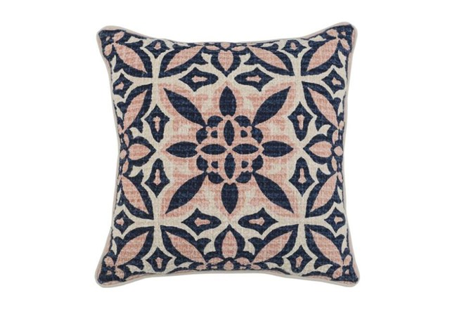 Accent Pillow-Blush & Navy Printed Cotton 18X18 - 360