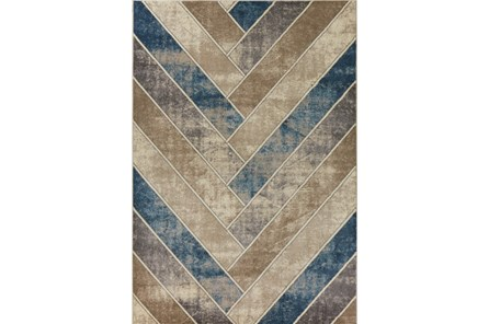 91X130 Rug-Distressed Herringbone Tan/Teal