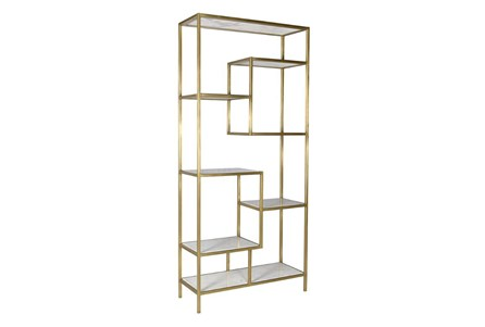 Multi Level Gold Bookcase