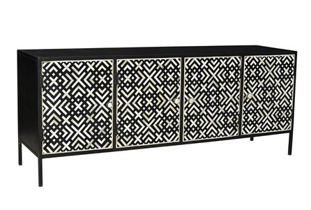 Geo Pattern Black And White  Bone Inlay Sideboard