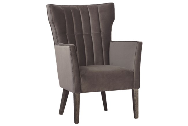 Wing Back Grey Velvet Accent Chair - 360