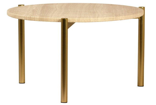 White Marble Coffee Table With Brass Legs - 360