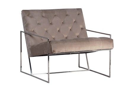 Grey Velvet And Metal Frame Accent Chair