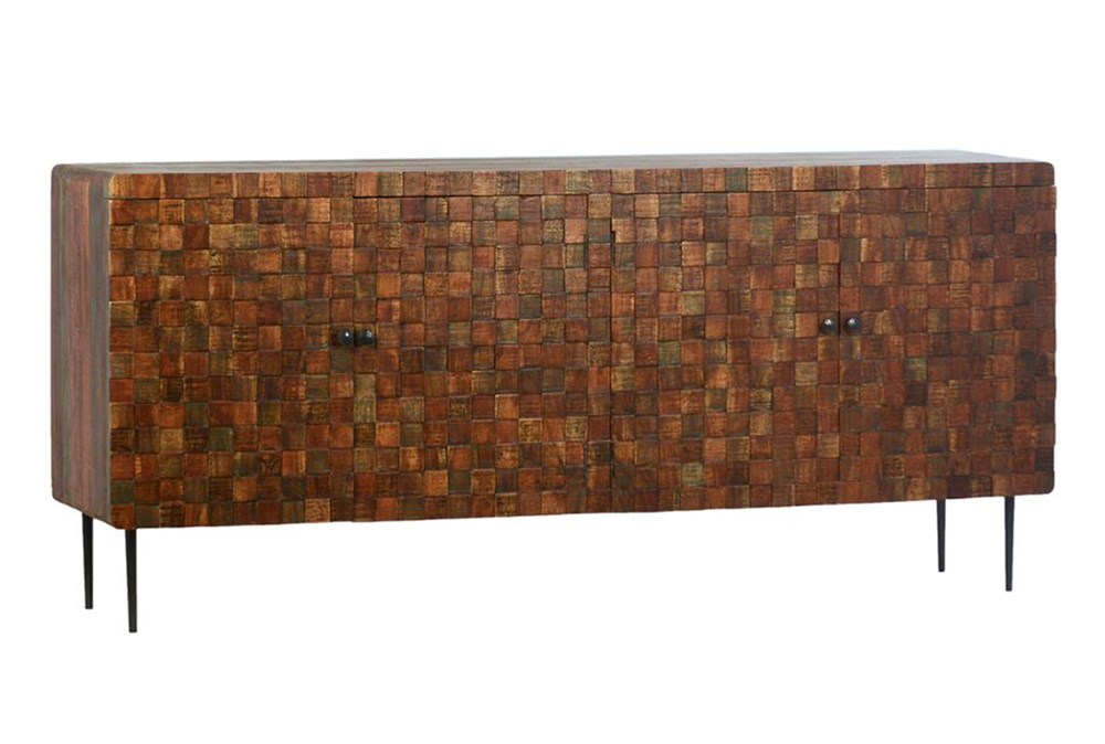 4 Door Wood Squares Sideboard