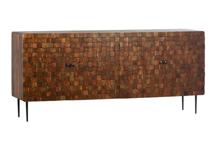 4 Door Wood Squares Sideboard