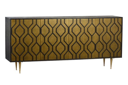 4 Door Brass Geo Sideboard