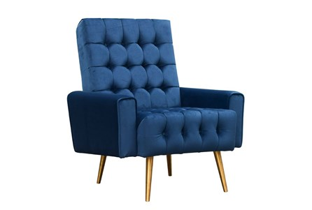 Modern Blue Tufted Accent Chair