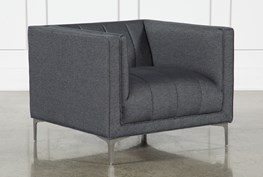 Black Denim Channel Chair