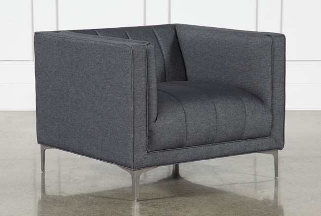 Black Denim Channel Chair - 360