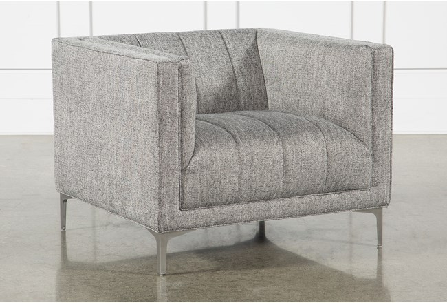 Grey Tweed Channel Chair - 360