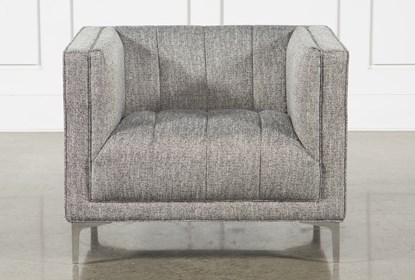 Stupendous Grey Tweed Channel Chair Lamtechconsult Wood Chair Design Ideas Lamtechconsultcom