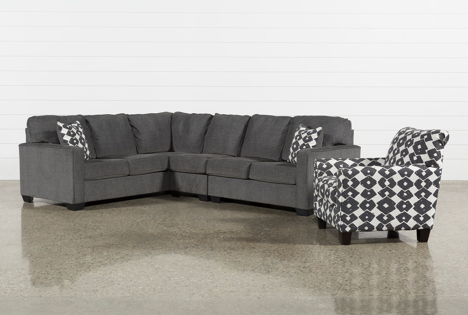 Turdur 3 Piece Raf Sectional With Accent Chair Living Spaces