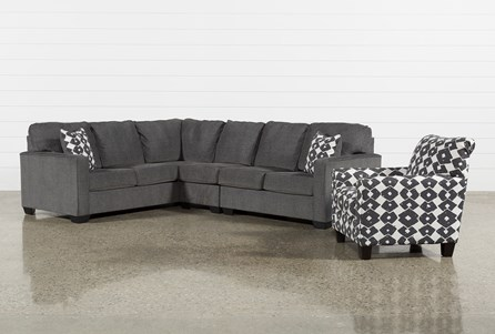 Turdur 3 Piece Right Facing Sectional With Accent Chair